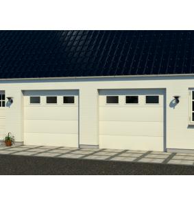 Dobbelt garageport med RF elementer med vinduer