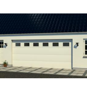 Hangar garageport med RF elementer med vinduer