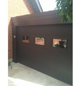 Garageport RV i sort med vinduer