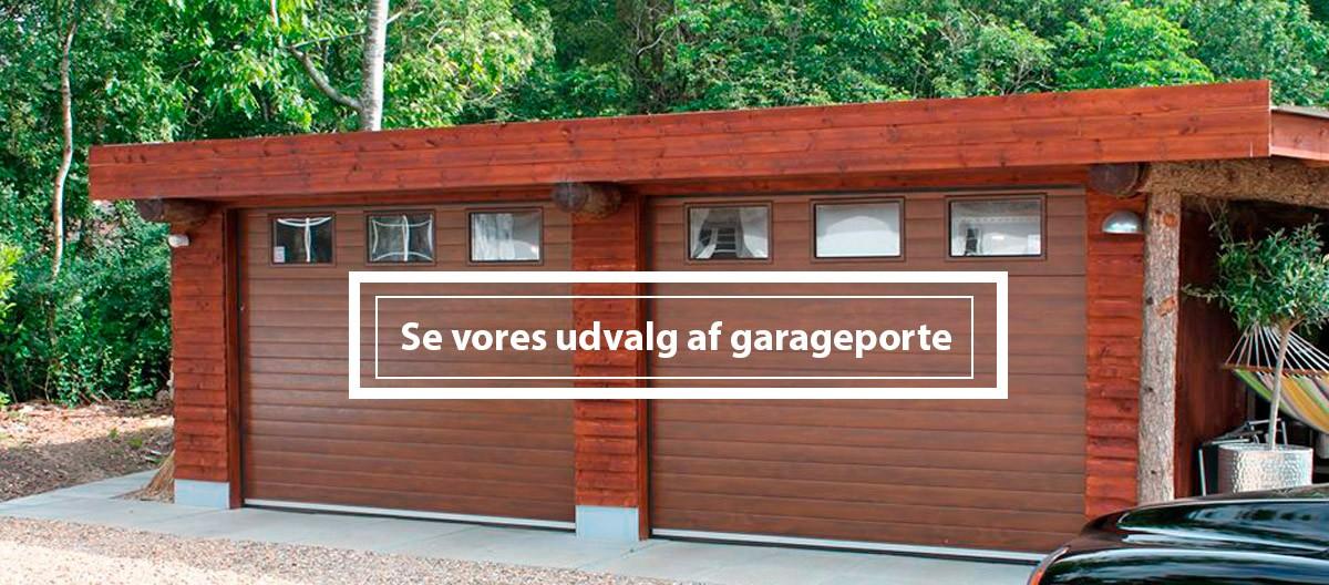 Garageporte til private med og uden vinduer, dør som ekstra tilbehør og fritvalg mellem 4 farver